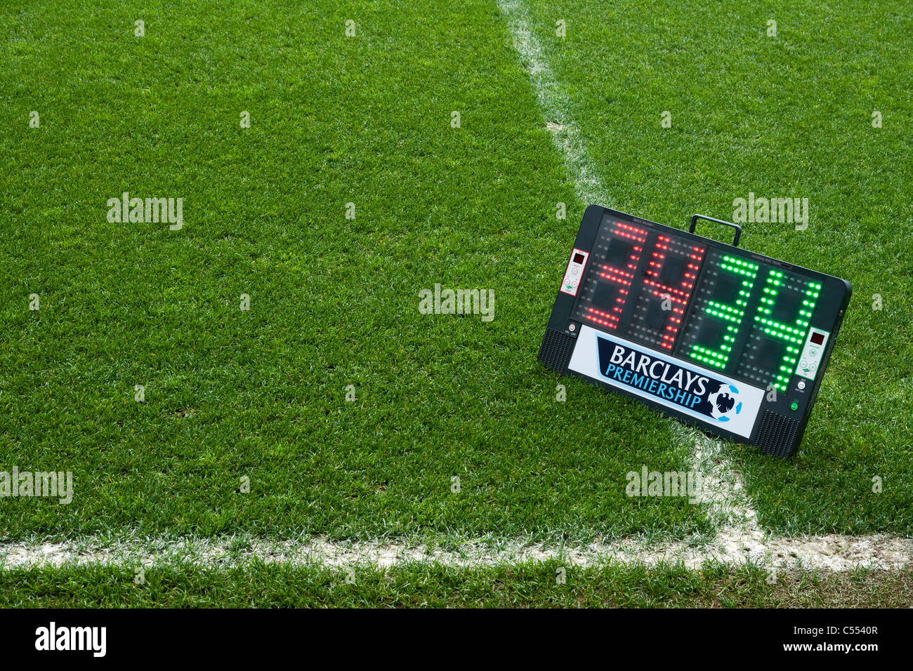 The Barclays Premiership substitutes board reading numbers 34 and 34. - Stock Image