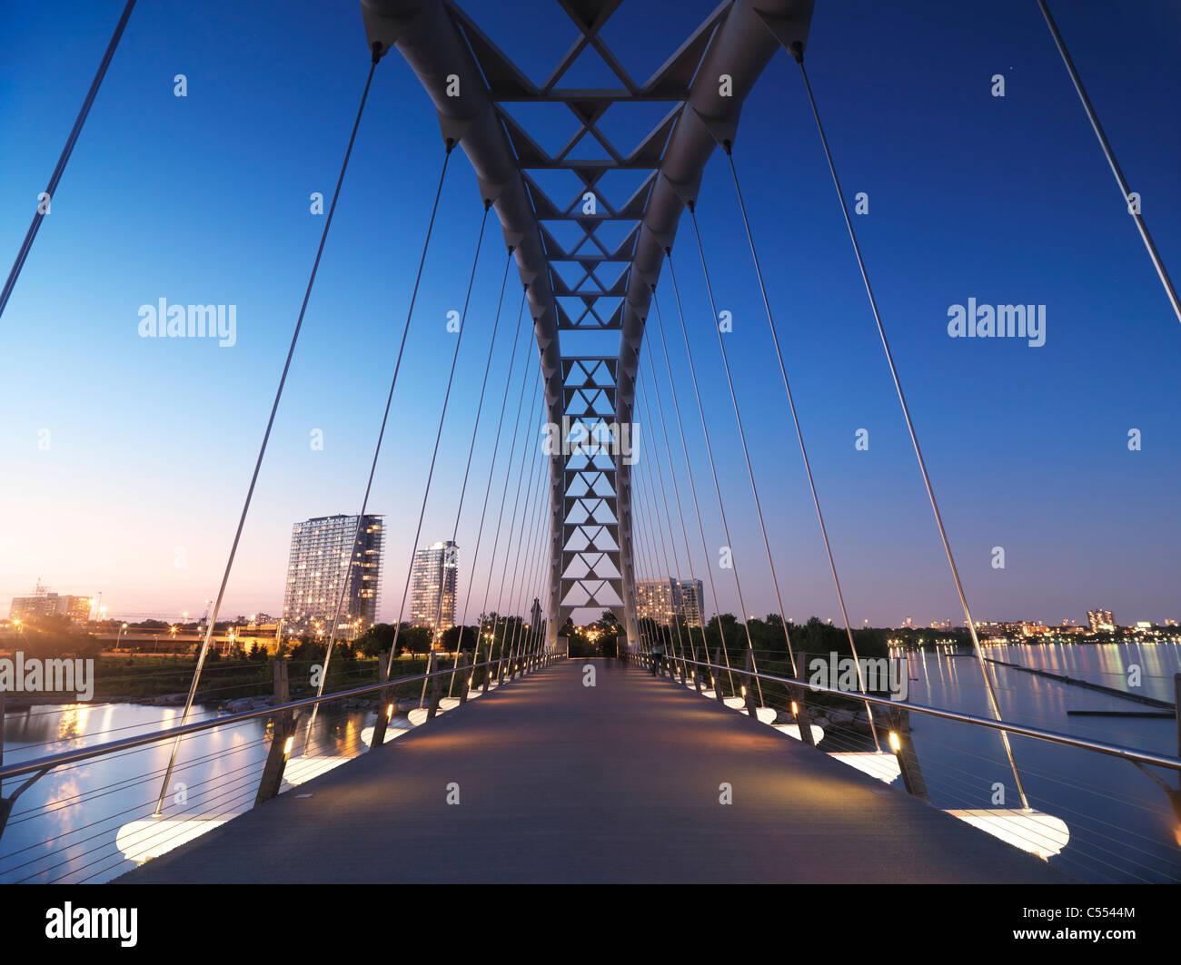 The Humber River Arch Bridge in Toronto during sunset also known as the Humber Bay Arch Bridge or the Gateway Bridge. Canada Stock Photo
