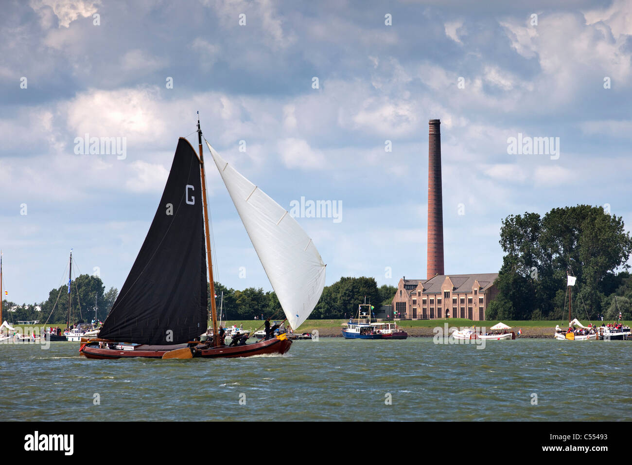 Lemmer, Sailing races called Skutsjesilen. Water pumping station called Woudagemaal, Unesco World Heritage site. - Stock Image