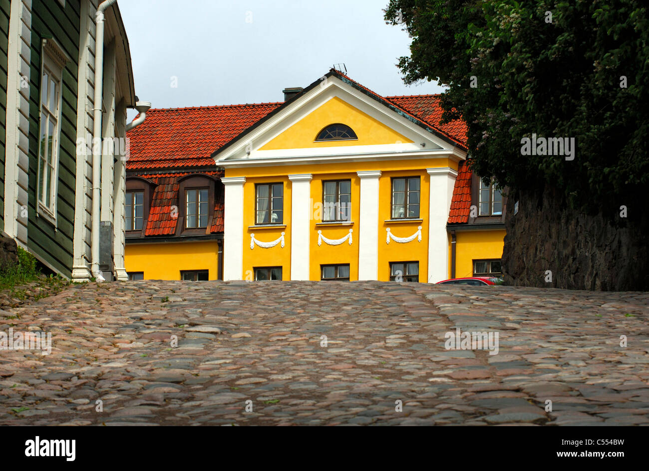 Bishop's seat of Finland's Swedish-speaking diocese in the old town of Porvoo, Finland - Stock Image