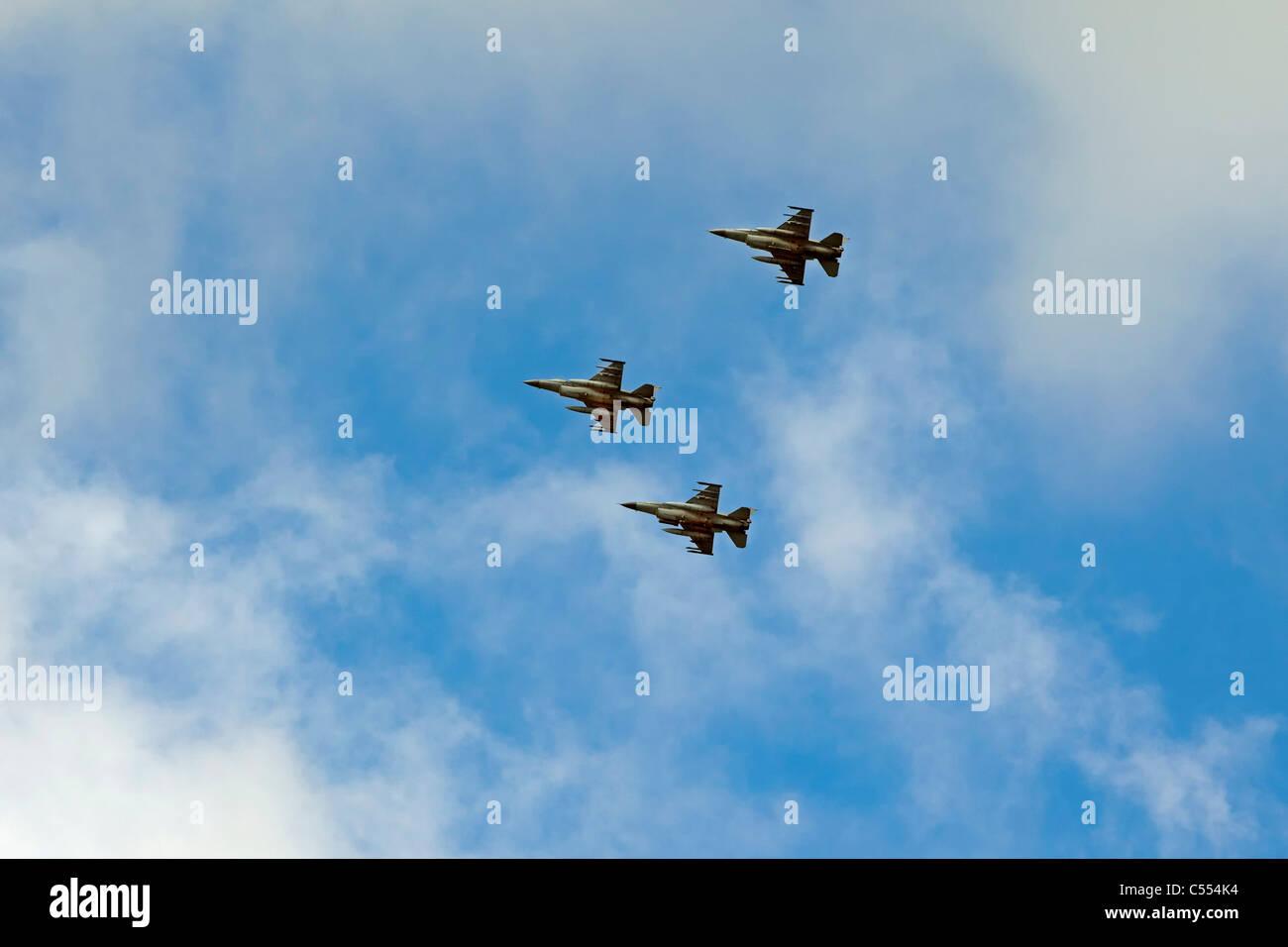 The Netherlands, Buren on Ameland, Island belonging to Wadden Sea Islands. Unesco World Heritage Site. F-16 fighter - Stock Image