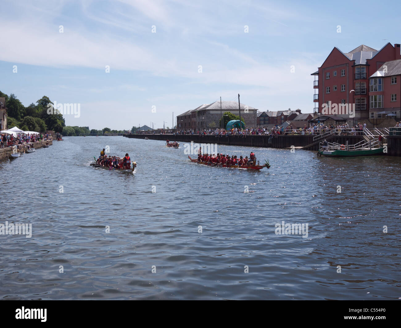 Dragon Boat Racing on Exeter quay - Stock Image
