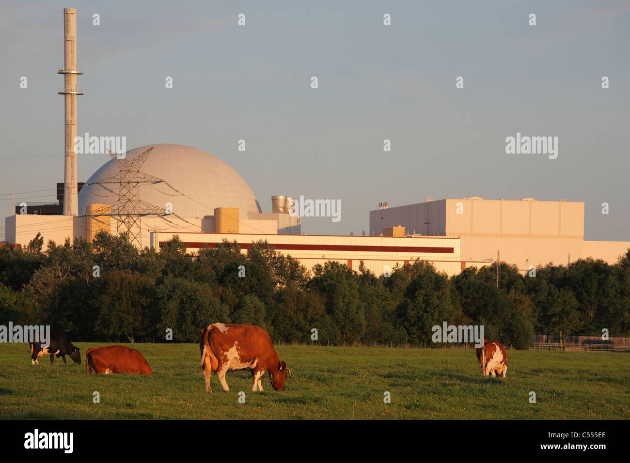 nuclear power station in Brokdorf, Germany - Stock Image
