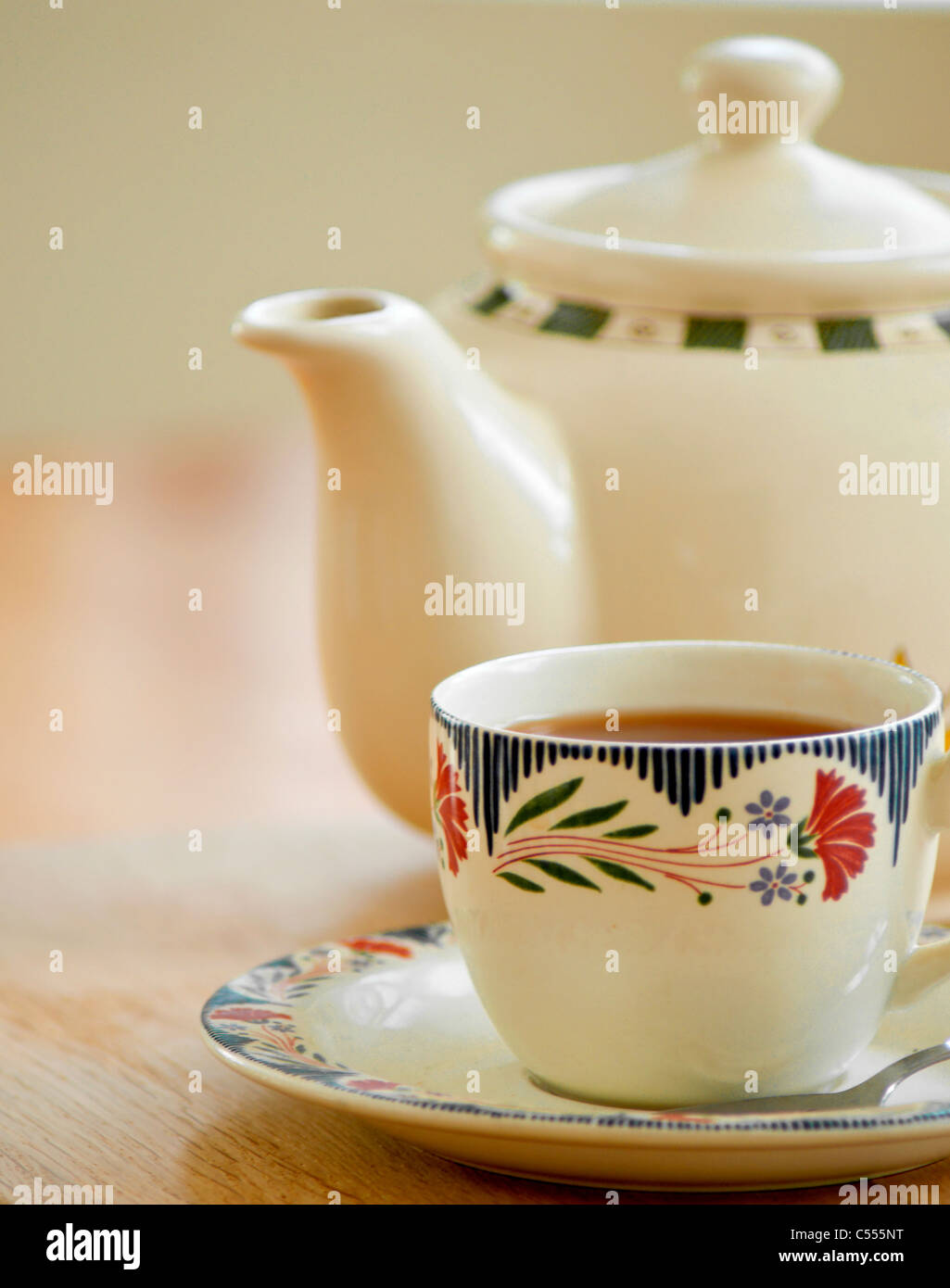 A morning cup of tea - Stock Image