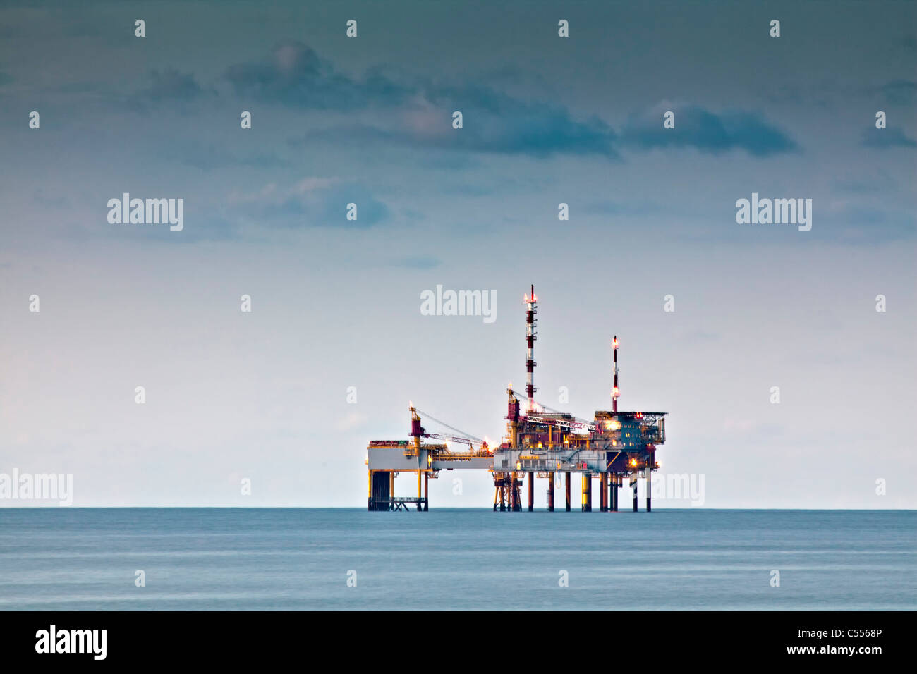 The Netherlands, Buren, Ameland Island, belonging to Wadden Sea Islands. Unesco World Heritage Site. Gas drilling - Stock Image