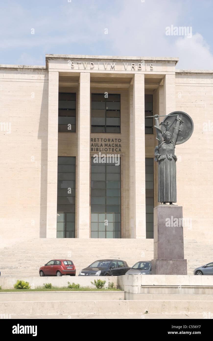La Sapienza university building detail with Minerva goddess statue - Stock Photo