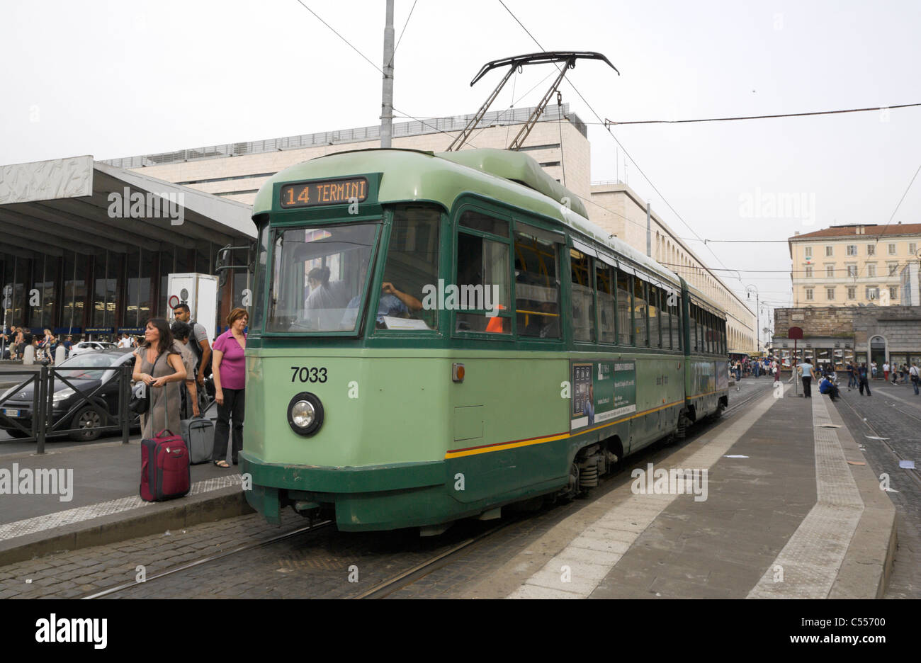 Number 14 tram outside Termini train station in Rome - Stock Image