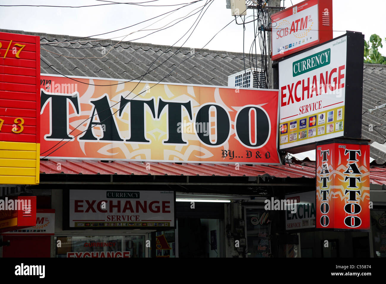6ea1bd469008b Tattoo parlour and sign in Patong, Phuket, Thailand - Stock Image