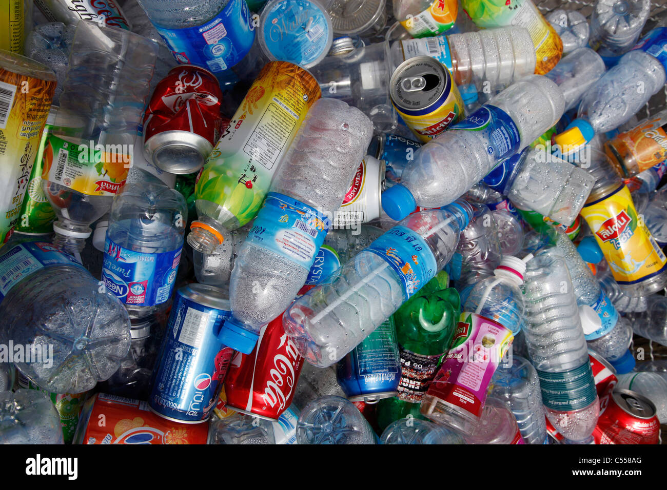 Plastic Bottles And Containers In A Rubbish Bin For