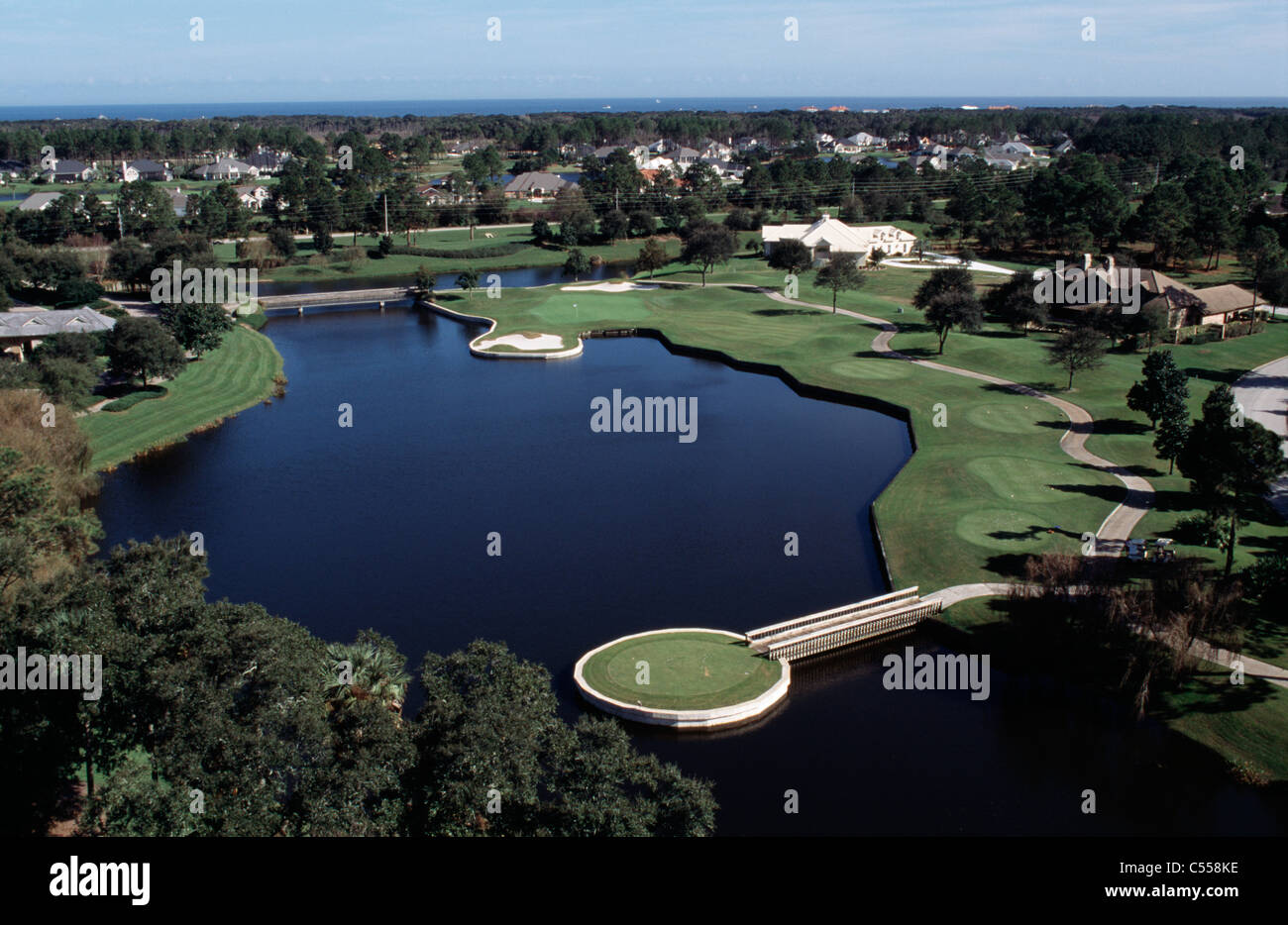 High angle view of a golf course, The Plantation Country Club, Jacksonville, Duval county, Florida, USA - Stock Image