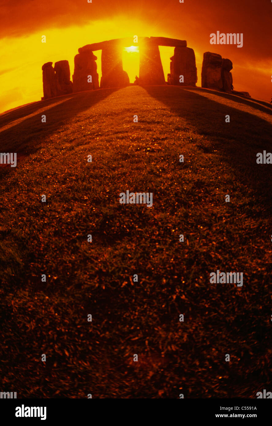 UK, England, Wiltshire, Stonehenge at sunset Stock Photo