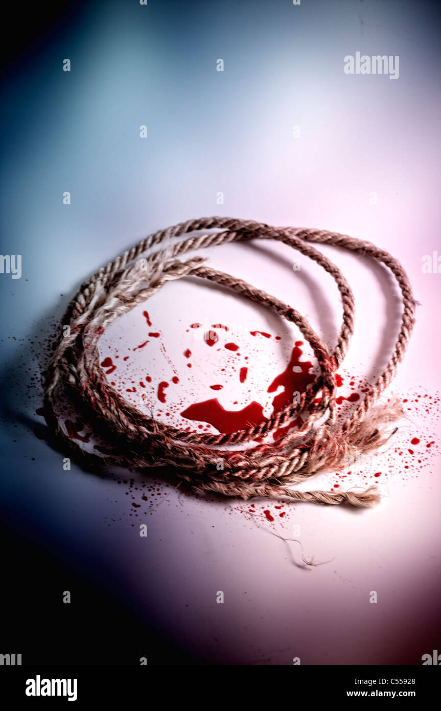 Rope with blood - Stock Image