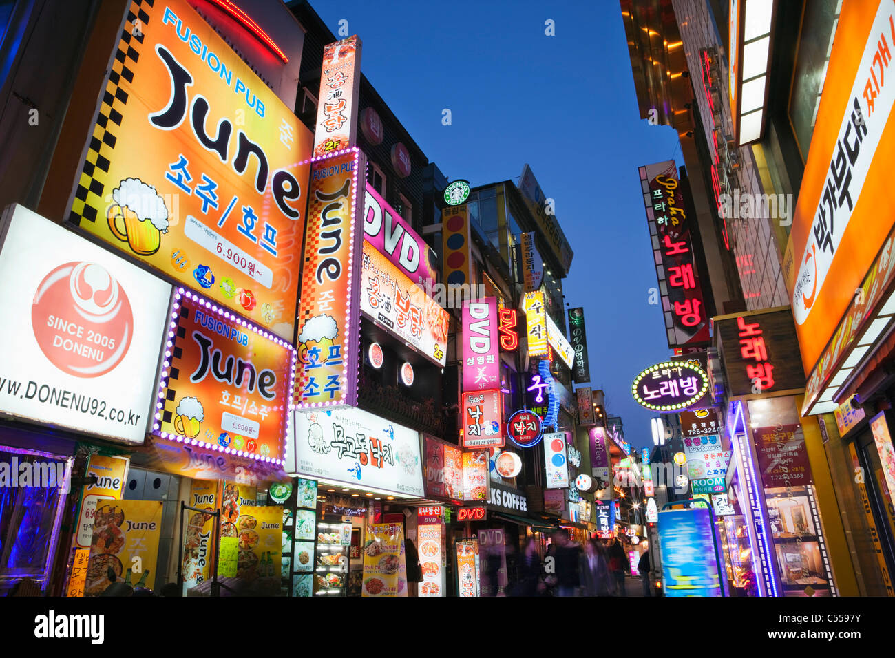 Commercial signboards at a market, Myeongdong, Seoul, South Korea - Stock Image