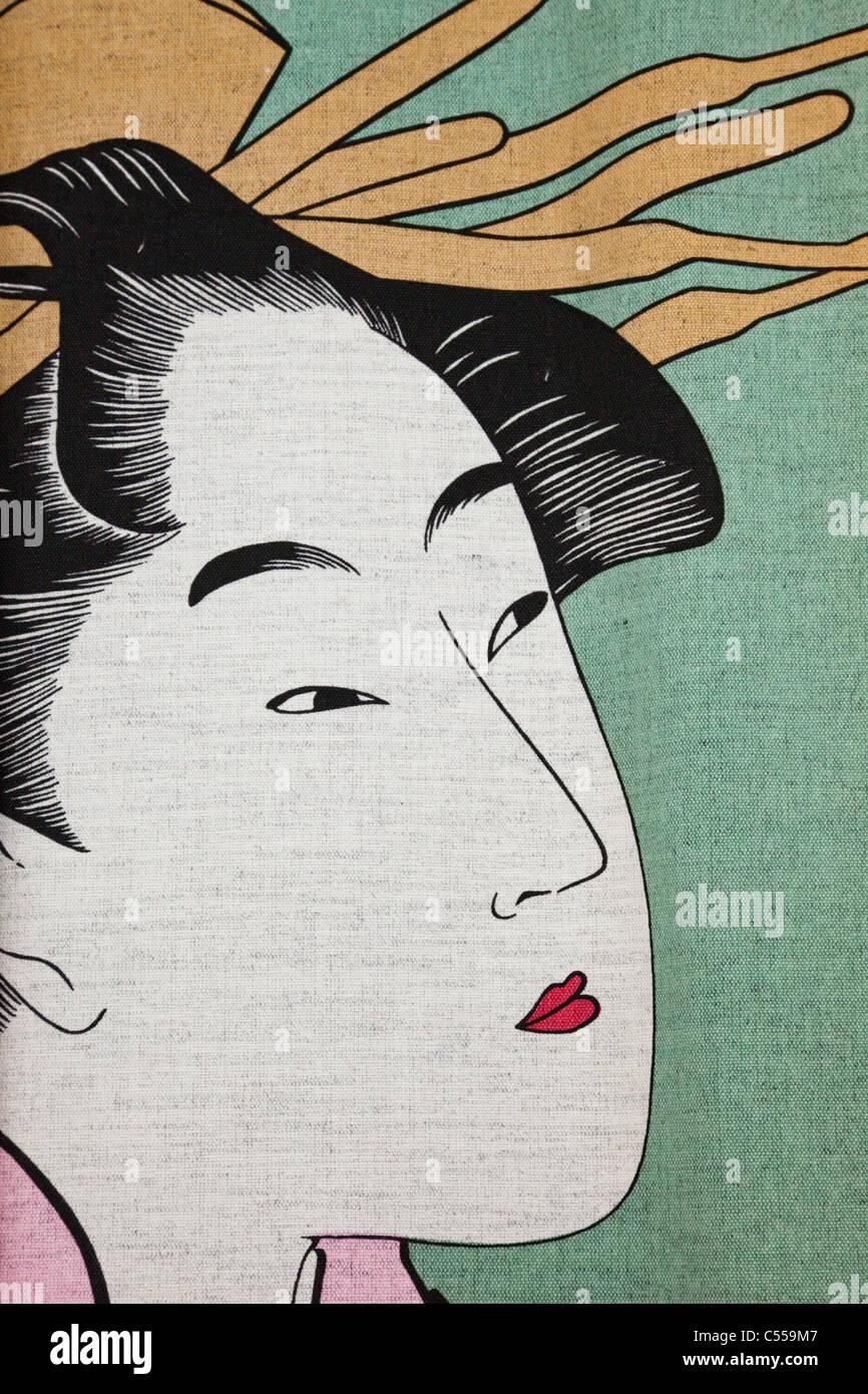 Close-up of a details of a Ukiyo-e Painting depicting Geisha, Kyoto Prefecture, Kinki Region, Honshu, Japan - Stock Image