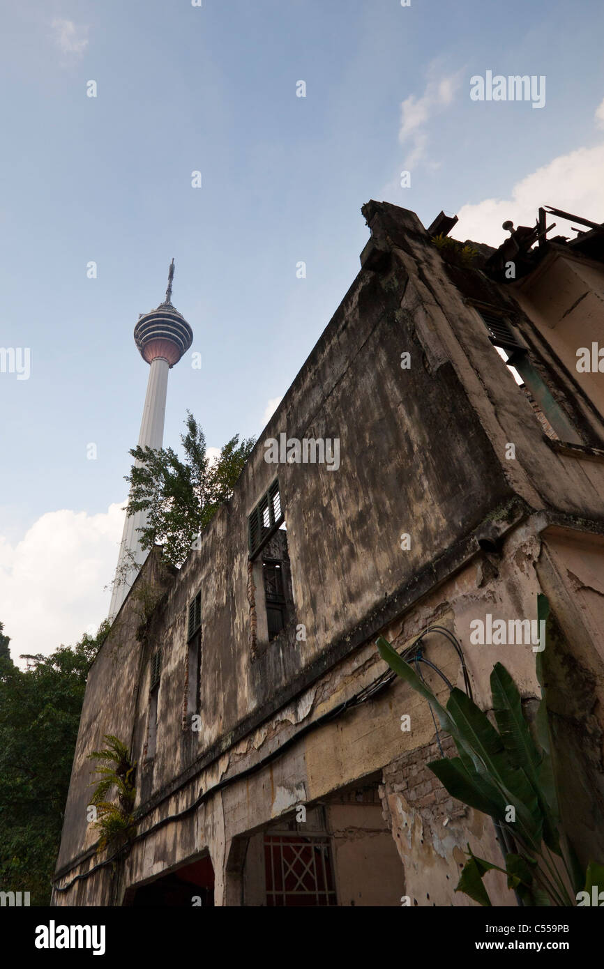 Detail of old house and KL Tower in Kuala Lumpur, Malaysia. - Stock Image