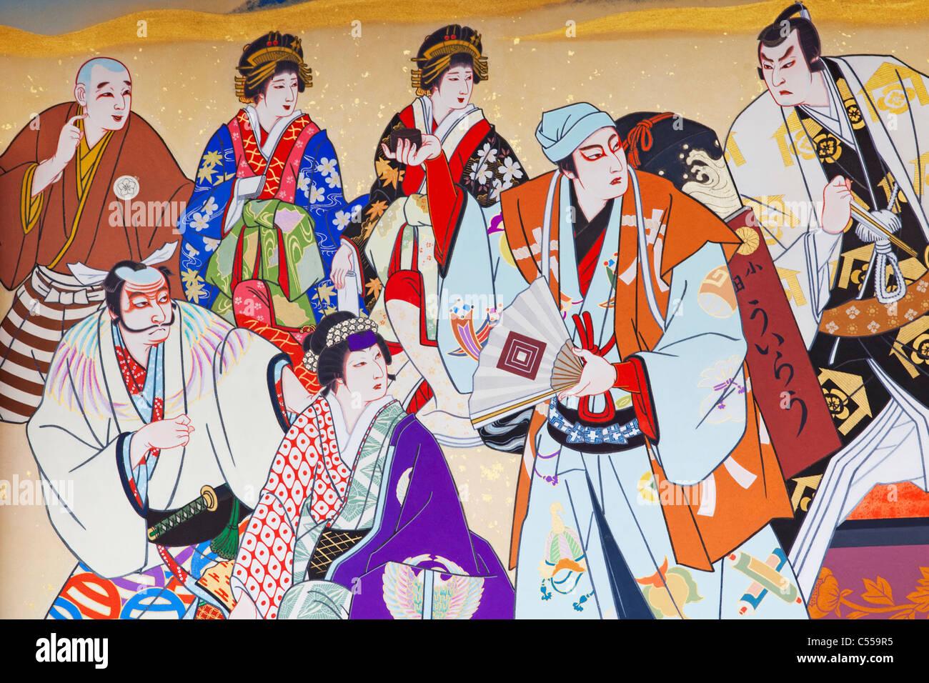Details of Ukiyo-e painting depicting Kabuki Characters, Minami-za Theatre, Kyoto Prefecture, Kinki Region, Honshu, - Stock Image