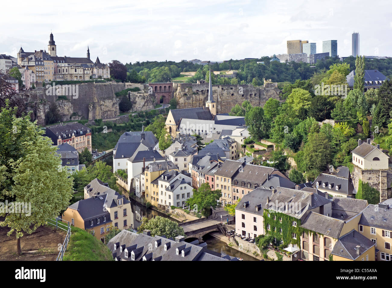 View over Montee du Grund Uewerstad City of Luxembourg  Luxembourg with Munster bridge bottom centre & Abb. - Stock Image