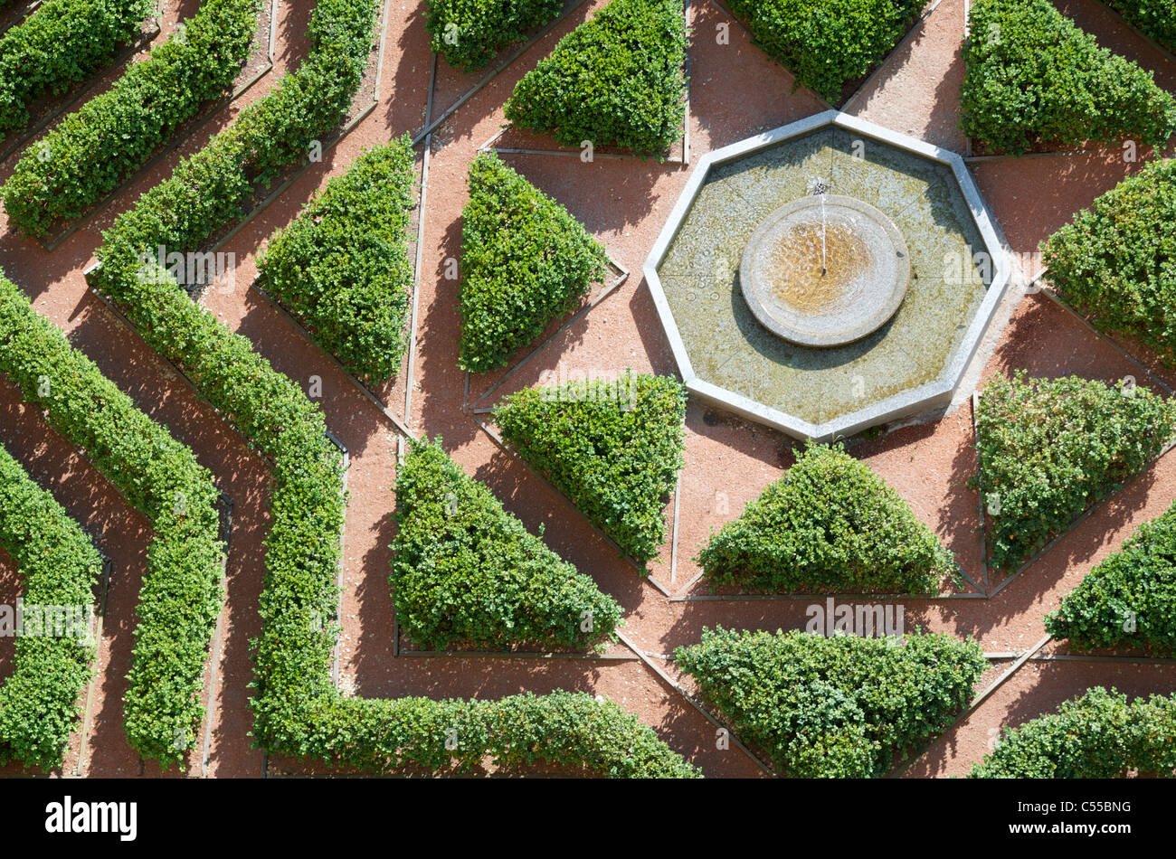 overhead view of a formal garden in the Alcazar of Segovia, Castilla Leon, Spain - Stock Image