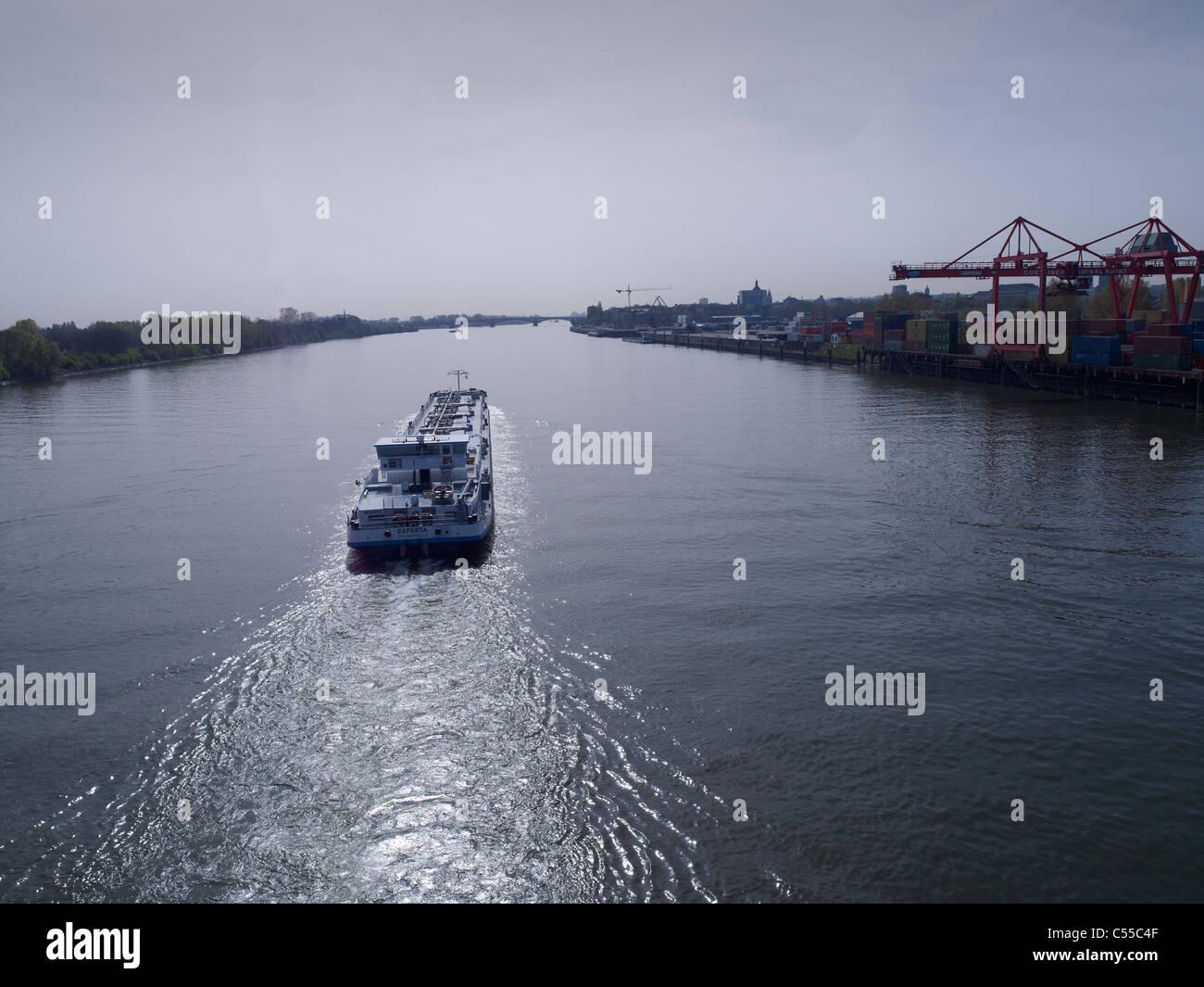 crude oil vessel on the Rhine near Mainz,Germany - Stock Image