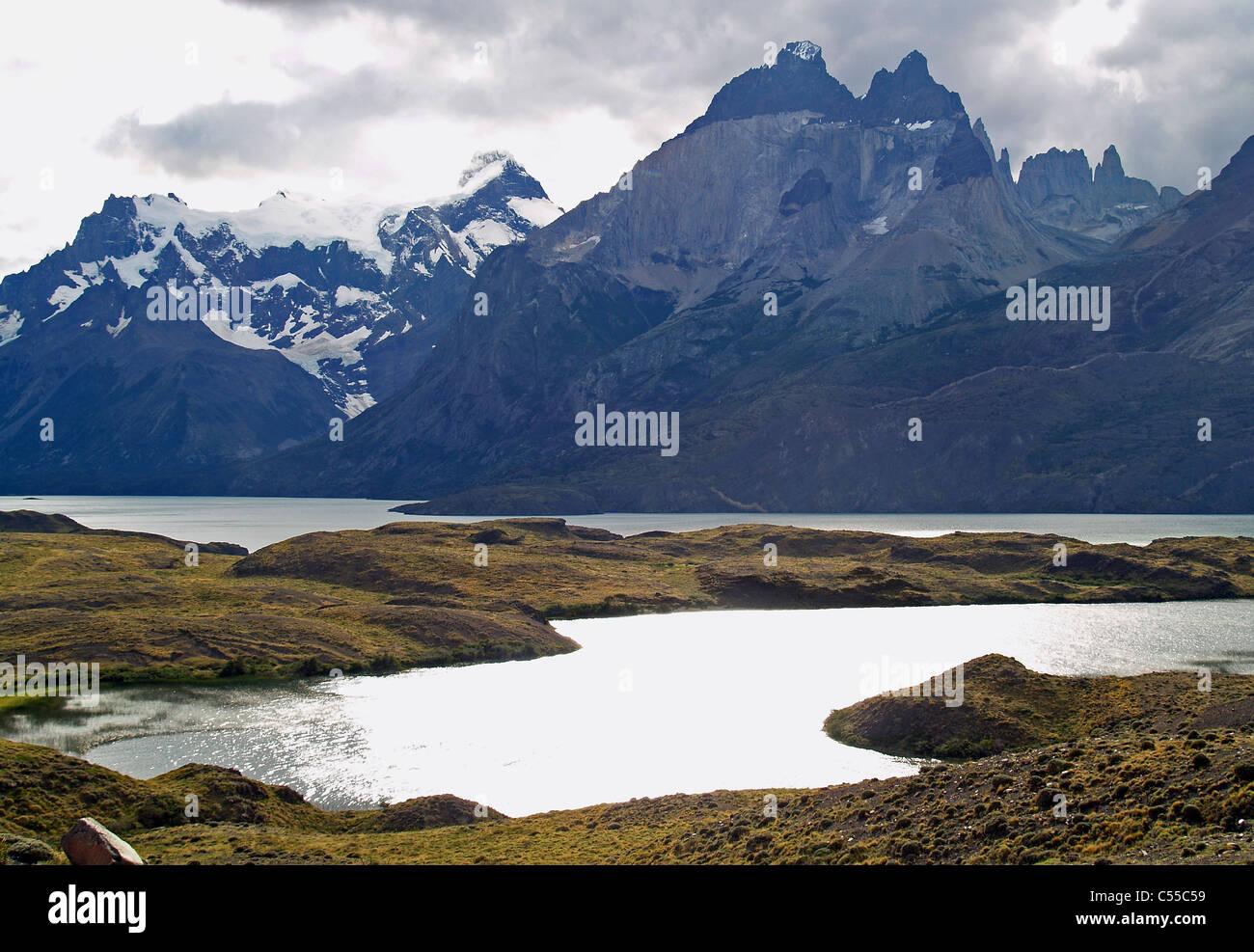 Los Cuernos,Lago Nordenskjold in Torres del Paine, chile - Stock Image