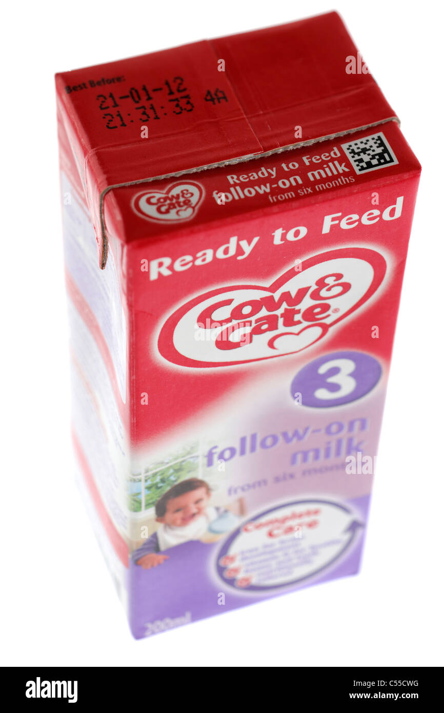 Carton of Cow & Gate baby milk ready to feed 3 follow on milk from six months Stock Photo