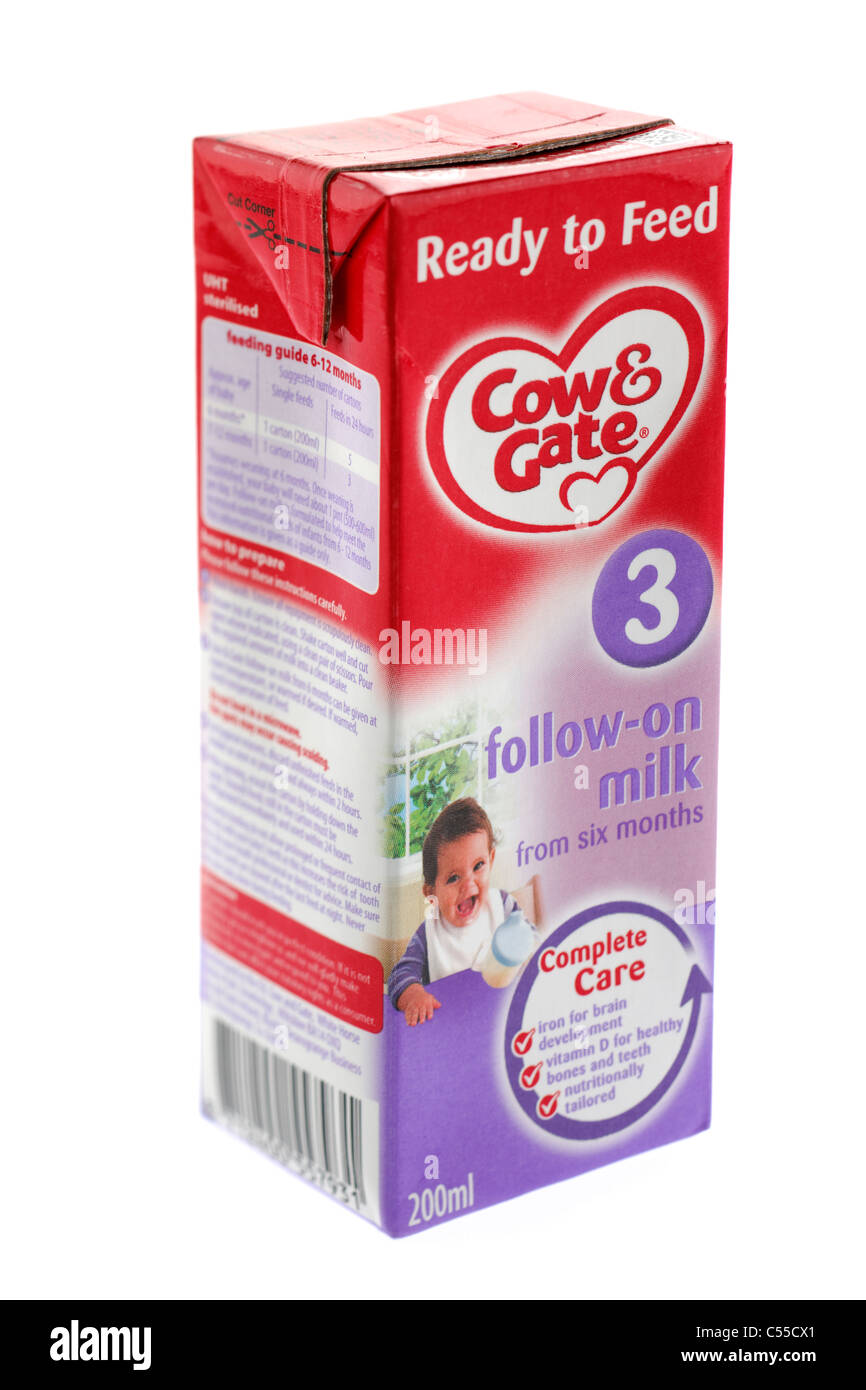 200 ml carton of Cow & Gate baby milk ready to feed 3 follow on milk from six months Stock Photo