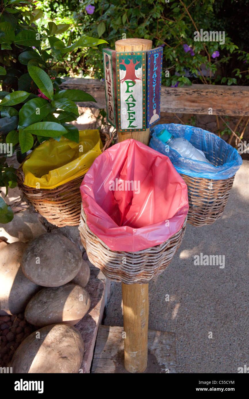 Recycling litter bins at Lencois, Chapada Diamantina, Bahia, Brazil - Stock Image