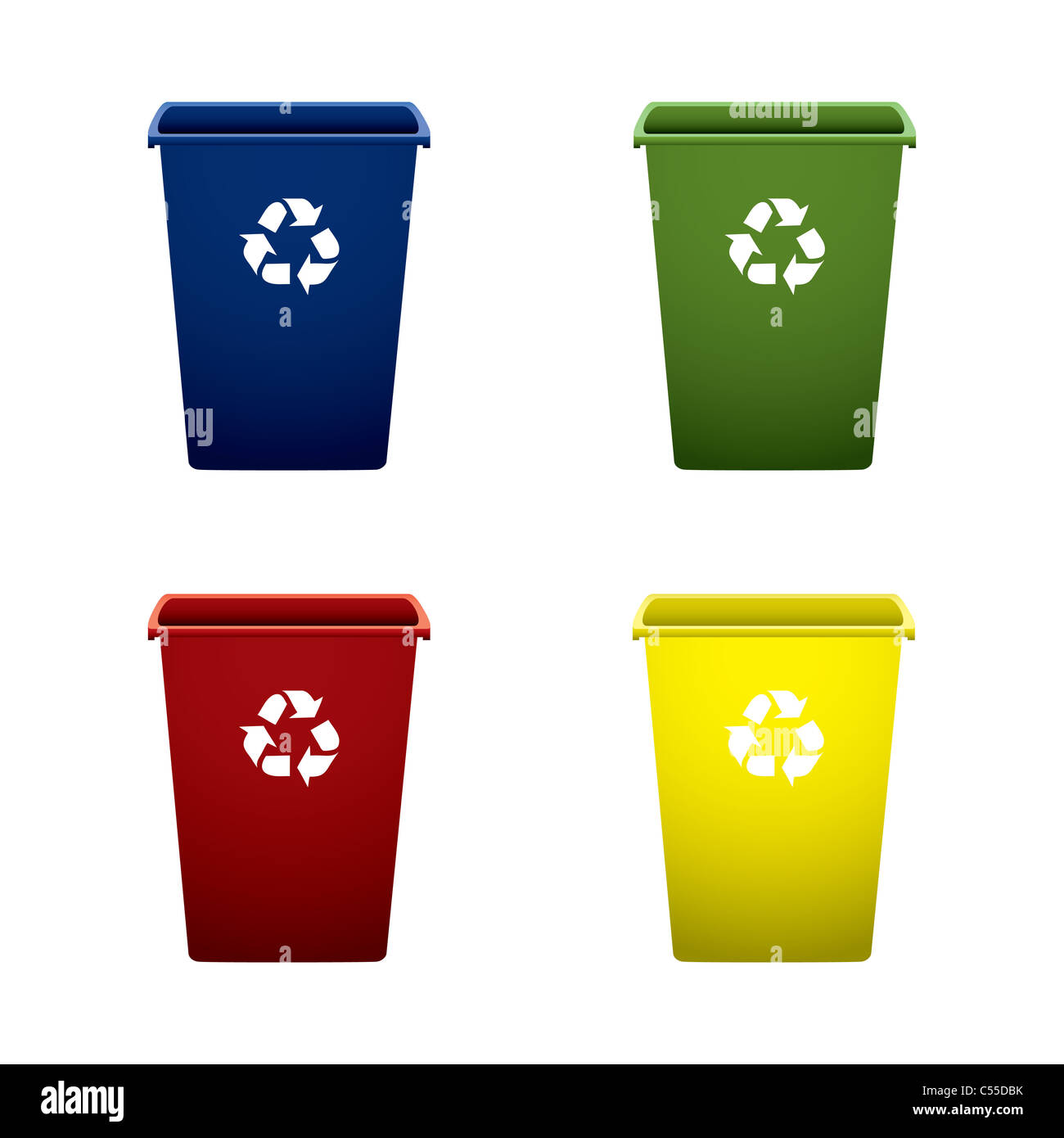 Collection of colourful recycle trash or rubbish bins - Stock Image
