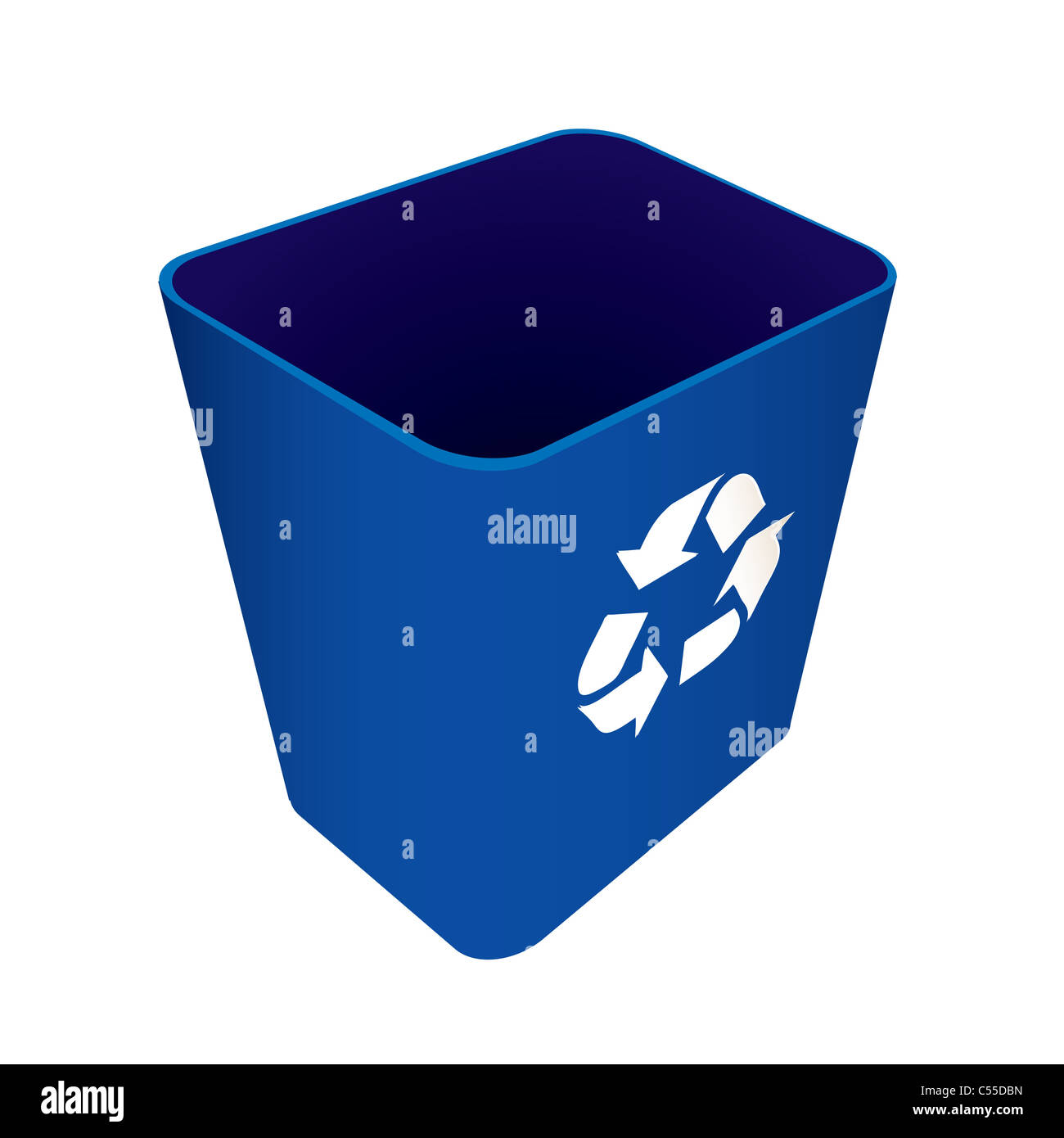 Blue plastic recycle waste can or bin - Stock Image