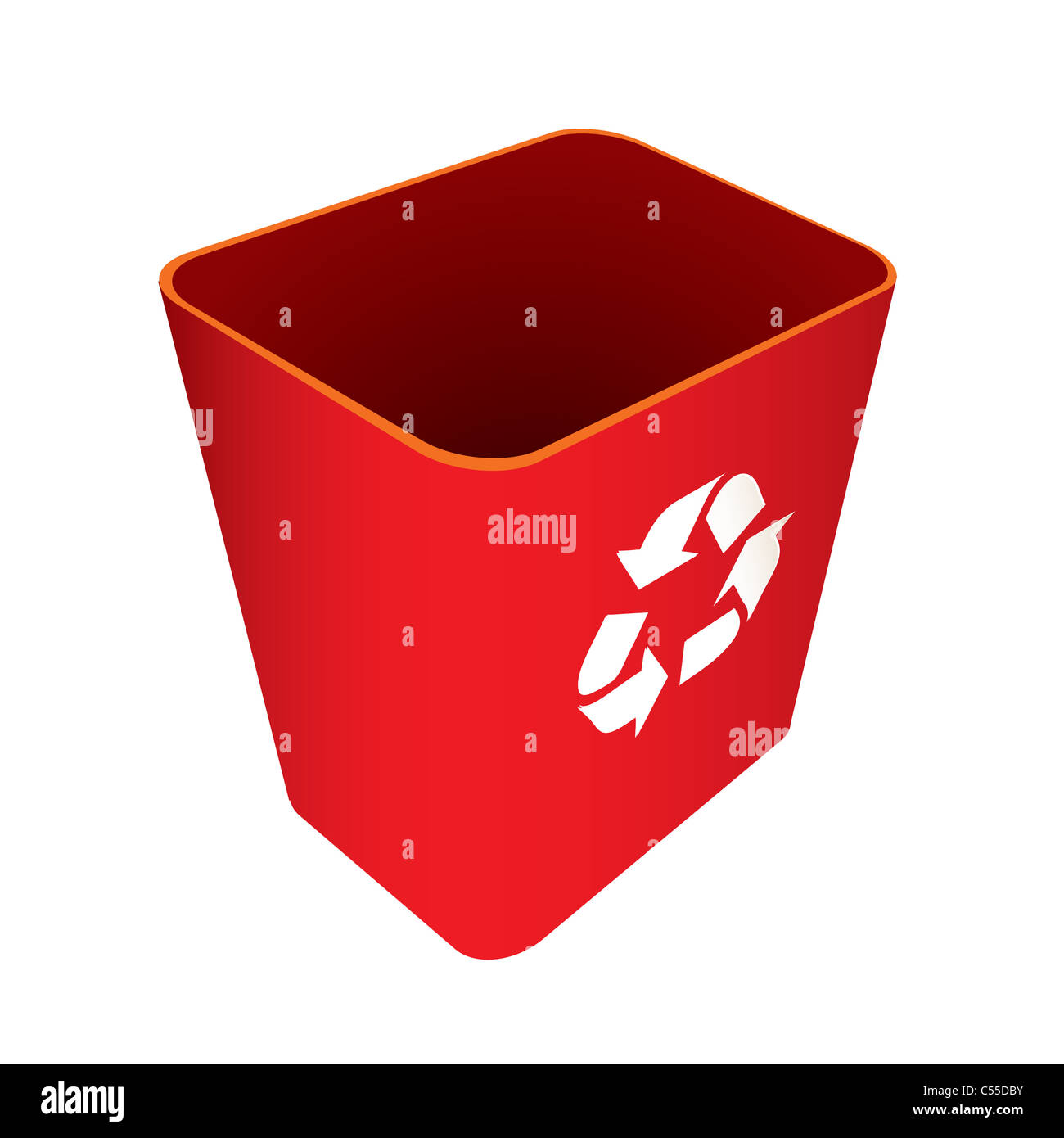 Red Recycle trash can or bin with symbol - Stock Image