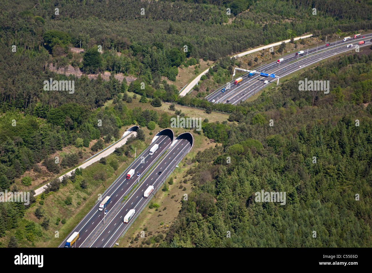 The Netherlands, Hoenderloo, Motorway or highway and eco crossover for fauna. Ecoduct. Aerial. - Stock Image