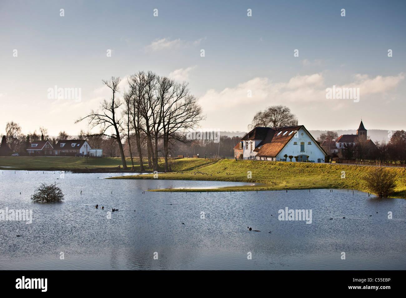 The Netherlands, near Nijmegen, High water level in river called Waal. dike Stock Photo