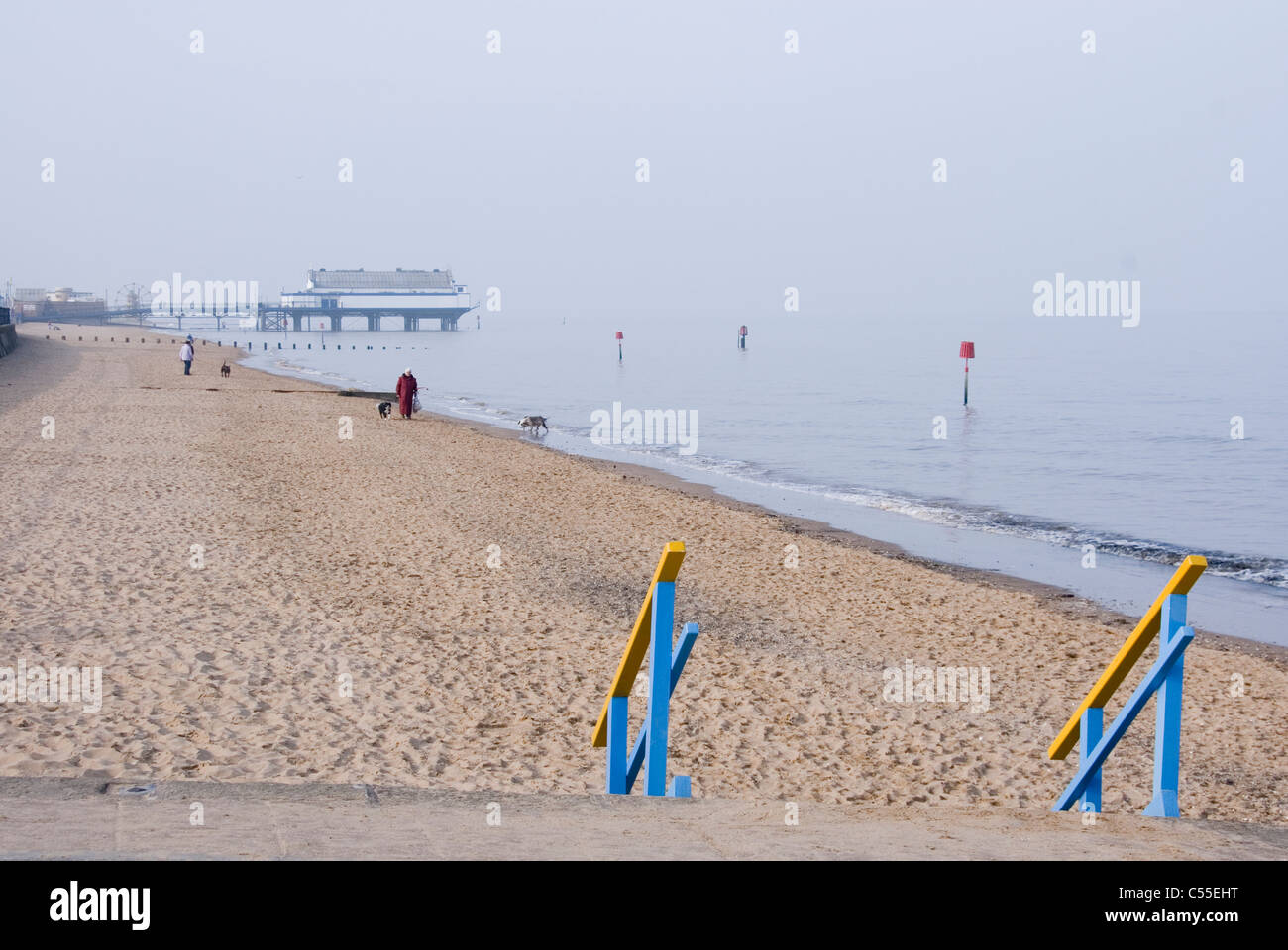 Early Spring Day on the Sandy Beach at Cleethorpes, South Humberside, UK - Stock Image