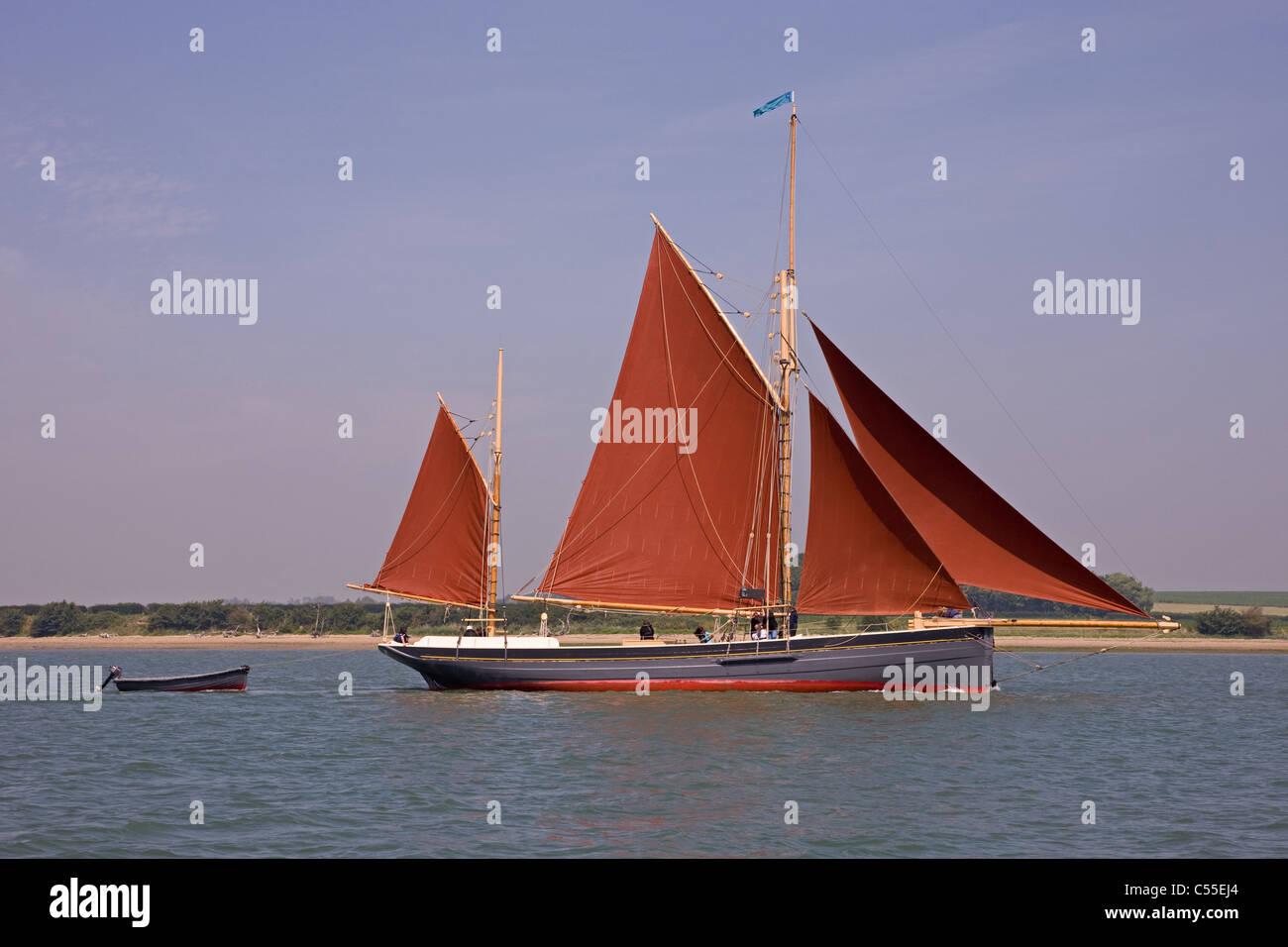 A sailing fishing smack on the East Coast,UK - Stock Image