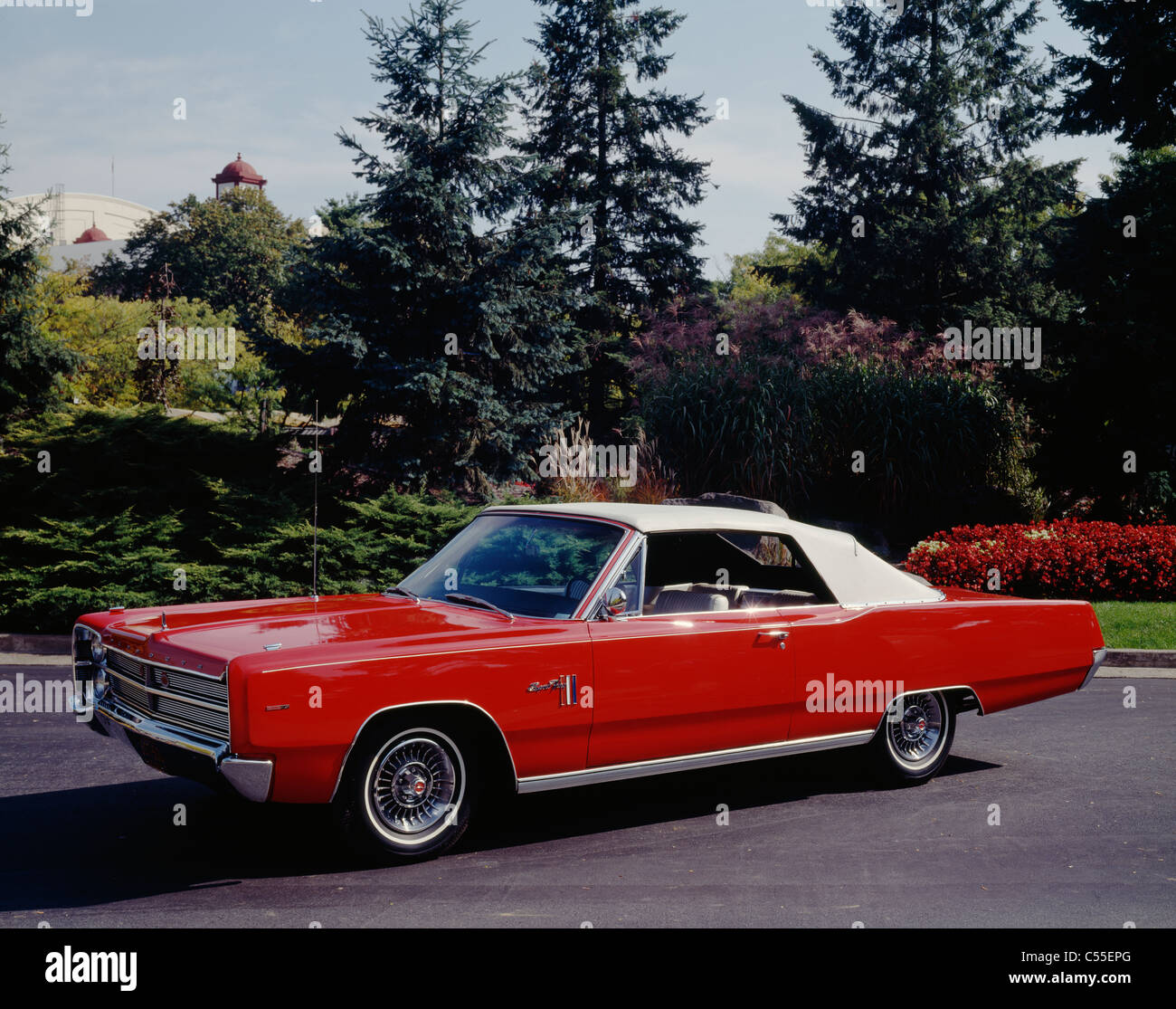 Convertible car on the road, Plymouth Fury - Stock Image