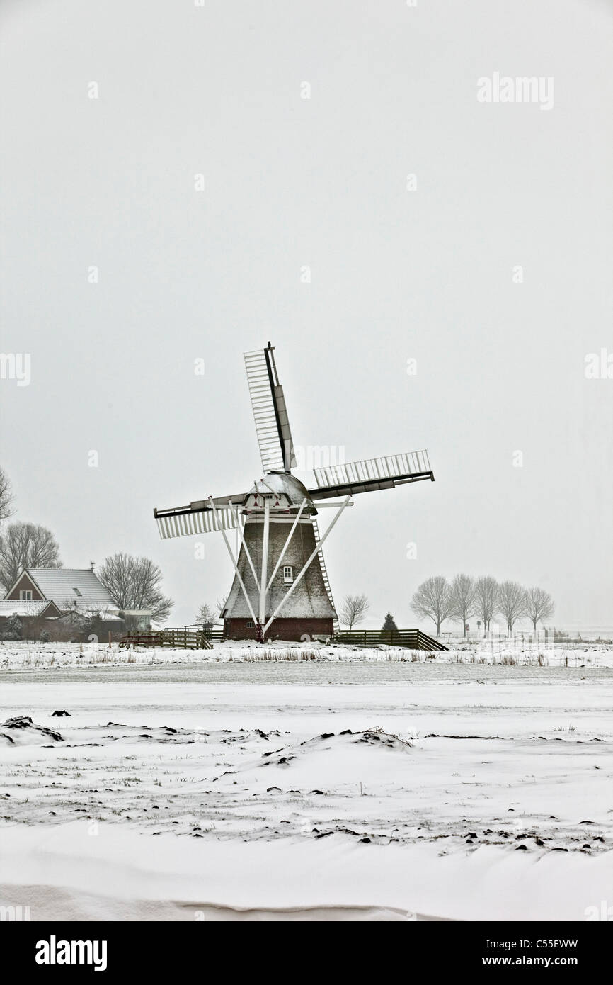 The Netherlands, Garrelsweer, windmill in snow. - Stock Image