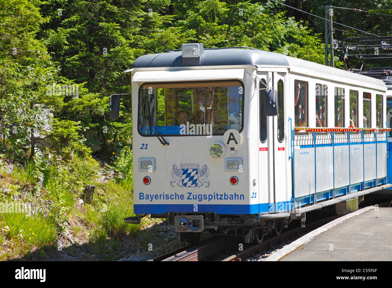 The Bavarian Zugspitze Railway, a rack railway to the Zugspitzplatt plateau close to  the summit. This is at  the - Stock Image