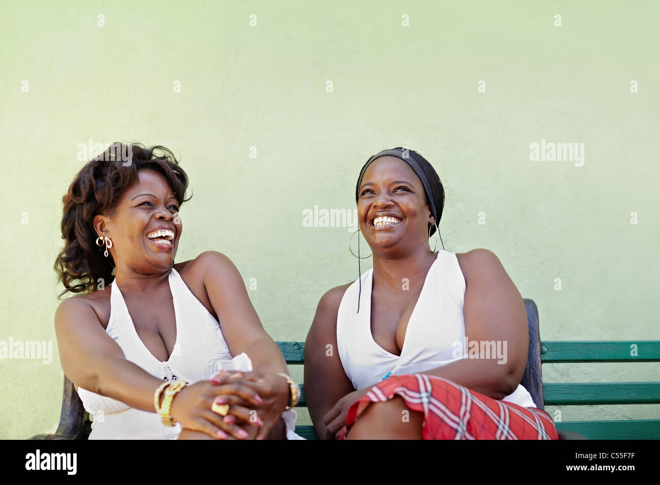 portrait of two happy african adult women talking on bench and smiling. Horizontal shape, copy space Stock Photo