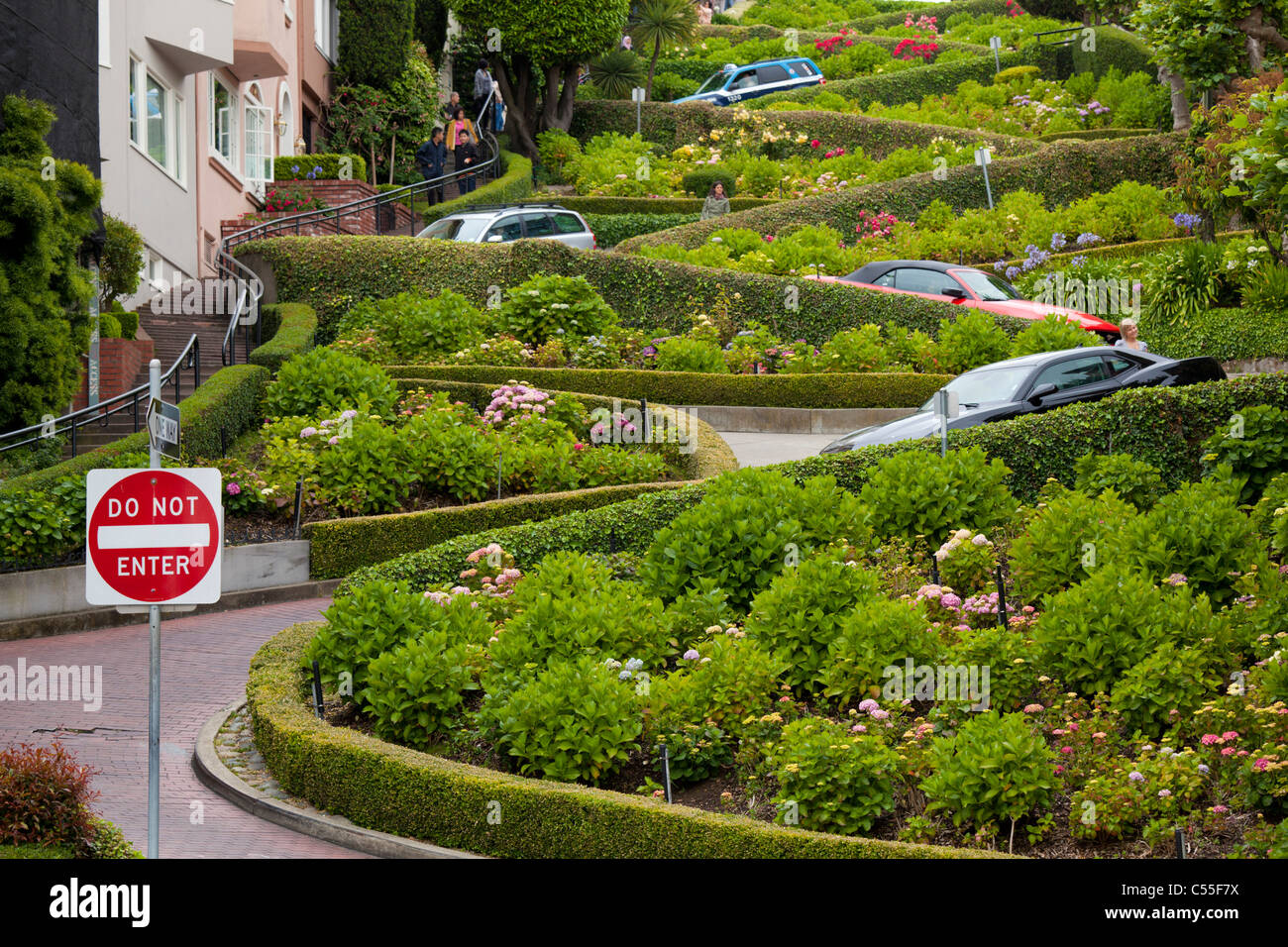 Lombard Street Famous winding road San Francisco california United States of America USA - Stock Image