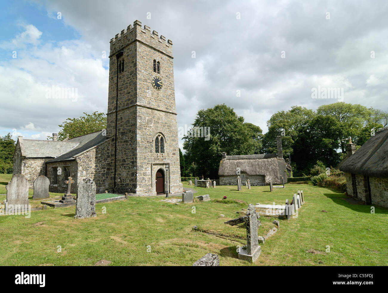 Buckland in the moor Church of st Peter - Stock Image