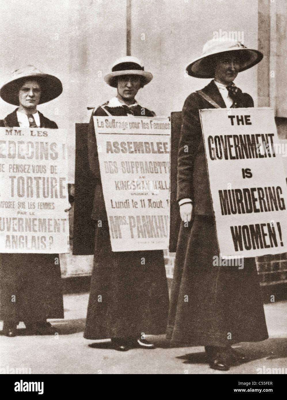 British Suffragettes circa 1910. Stock Photo