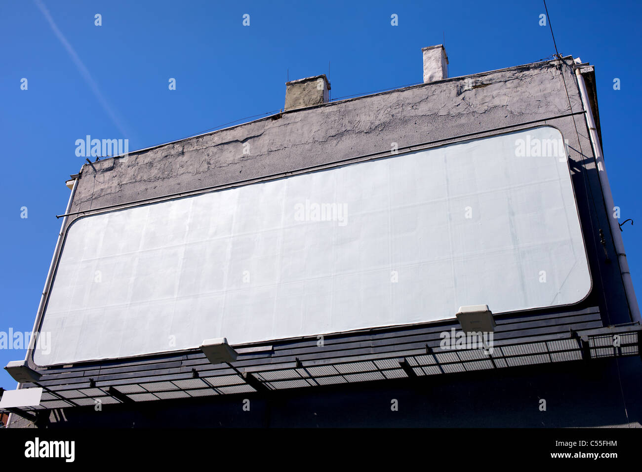 Large Blank Billboard On A Building Wall Stock Photo