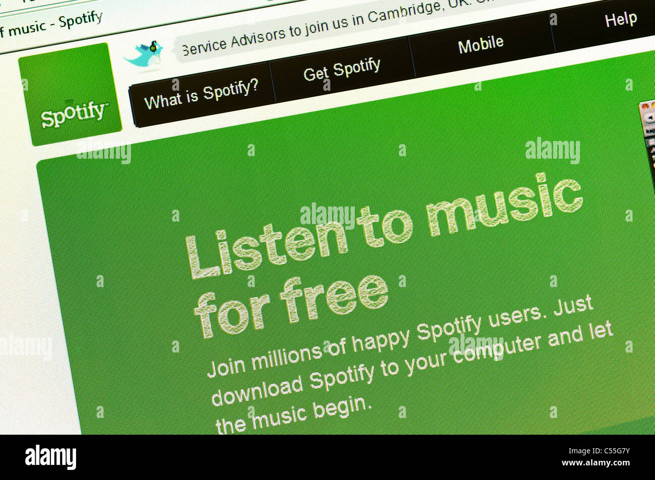 Spotify the Popular Free Music Streaming Website - Stock Image