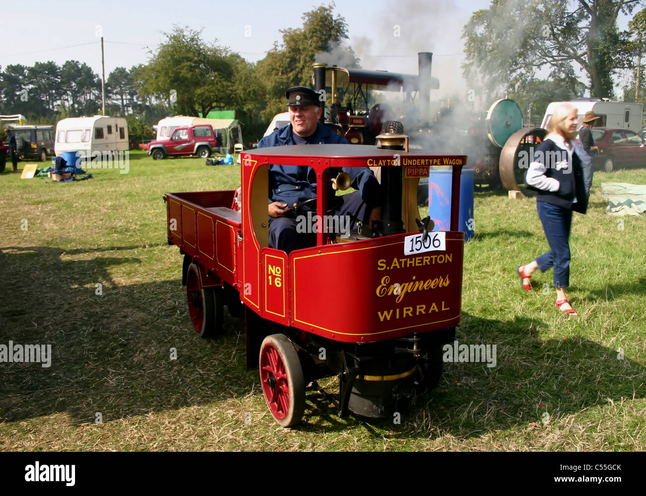 Half size Clayton steam wagon1920s prototype 4 ton wagon built by Dave Bennion at YesterYear Rally Malpas  Cheshire - Stock Image