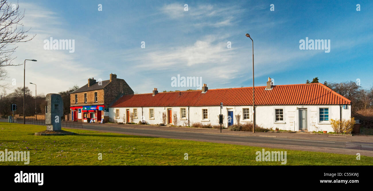 Mining Monument and miners' cottages, Newcraighall, Edinburgh - Stock Image
