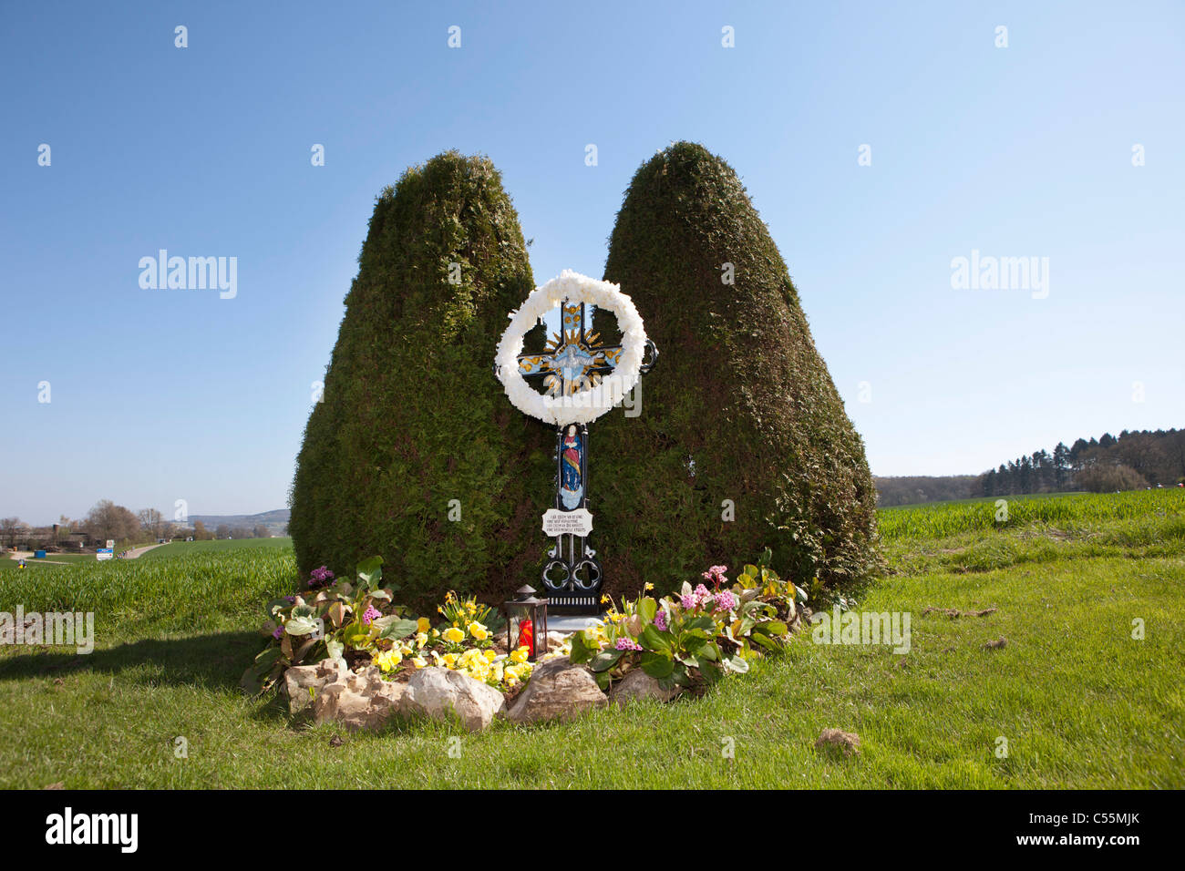 The Netherlands, Gulpen. Statue of Jesus Christ along the road. - Stock Image