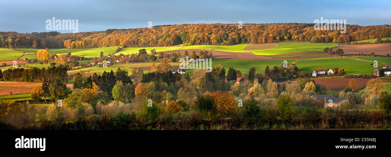 The Netherlands, Epen, panoramic view of frame houses. Autumn Stock ...