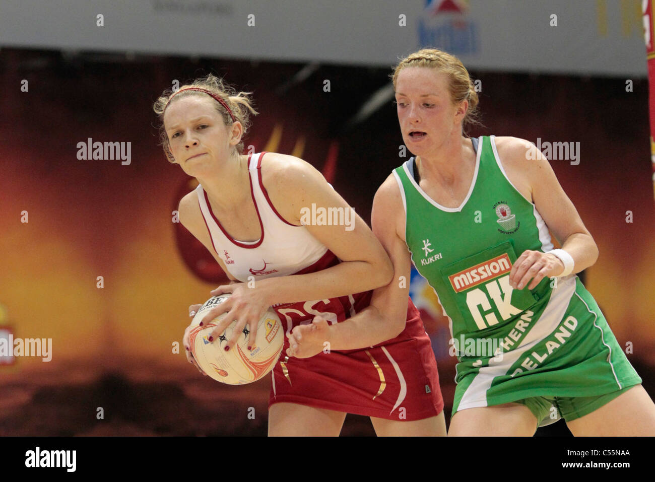 08.07.2011 Joanne Harten of England(left) and Gemma Gibney battle for the ball during the Quarter-finals between - Stock Image