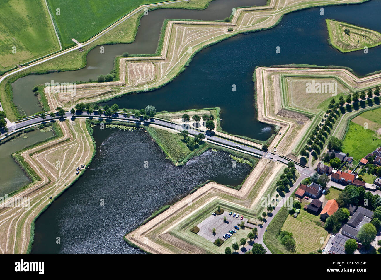 The Netherlands, The fortified, star shaped city of Heusden, Aerial. - Stock Image