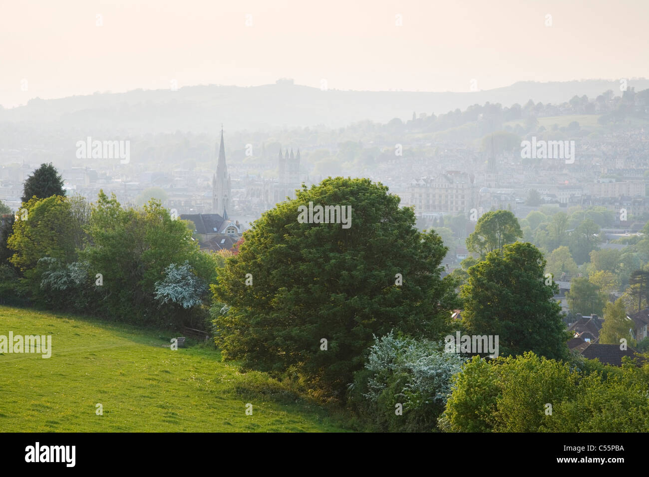 View over Bath from the Skyline Walk. Bath. Somerset. England. UK. - Stock Image
